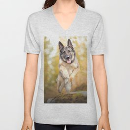 Animal German Shepherd Dogs Dog Bokeh Pet Depth Of Field  Unisex V-Neck