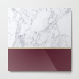 MARBLE GOLD WINE RED Metal Print
