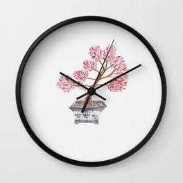 My husband's bonsai 02 in red Wall Clock