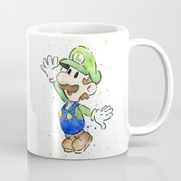luigi Mugs featuring Luigi Watercolor Art by Olechka