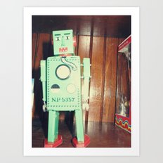 green robot! ~ mid century atomic tin toy Art Print