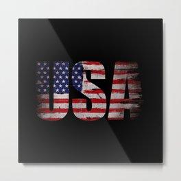 USA flag Grunge Metal Print