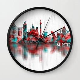 St. Petersburg Russia Skyline Wall Clock
