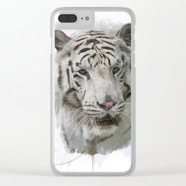 Digital Painting of White Tiger Clear iPhone Case