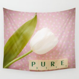 Pure - White Tulip Wall Tapestry