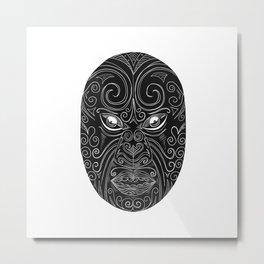 Maori Mask Scratchboard Metal Print