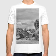 Down on the Farm Black and White MEDIUM Mens Fitted Tee White