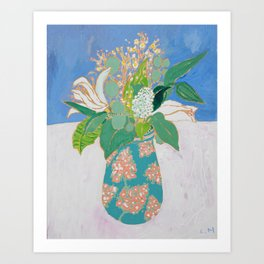 Lily and Eucalyptus Bouquet in Blue and Peach Floral Vase Art Print