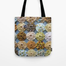Quilted Yoyos in Yellow pattern by robayre Tote Bag