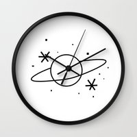 planets Wall Clocks featuring Planets by jajoão