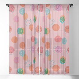 Smiley Face Stamp Print in Pink Sheer Curtain
