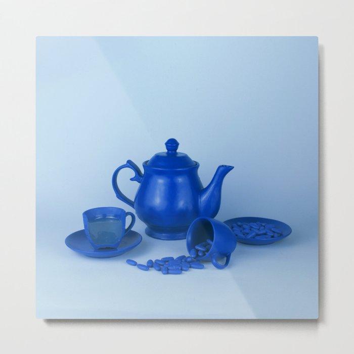 Blue tea party madness - still life Metal Print