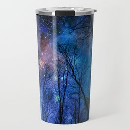 Black Trees Dark Blue Space Travel Mug
