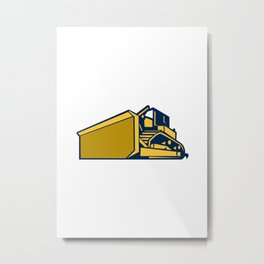 Bulldozer Low Angle Retro Metal Print