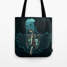 Skeleton with veil and white roses Tote Bag