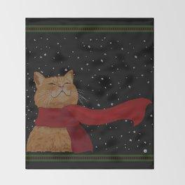 Knitted Wintercat Throw Blanket