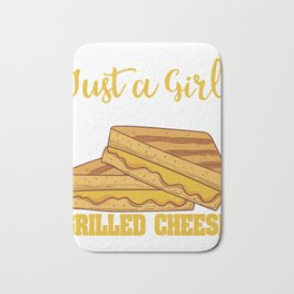 """""""Just A Girl Who Loves Grilled Cheese"""" Grilling Design For Bakers T-shirt Design Fork Knife Dessert Bath Mat"""