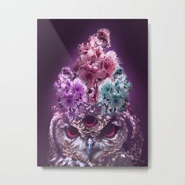 Flowerhat Owl Metal Print