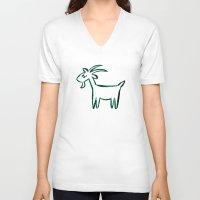 goat V-neck T-shirts featuring Goat by ANNA MAKAĆ -  folk designs
