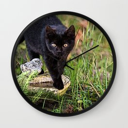 Lovely black cat walking her garden Wall Clock