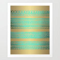 Aqua Blue Green Tribal Pattern on Gold Background Art Print