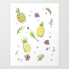 Pineapple Paradise Pattern Art Print