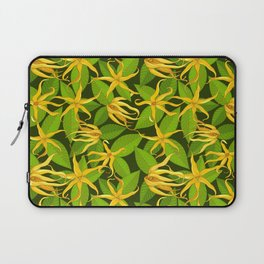 Ylang Ylang Exotic Scented Flowers and Leaves Pattern Laptop Sleeve