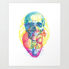 Brain Heart Skull Art Print