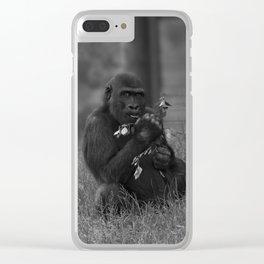 Cheeky Gorilla Lope Mono Clear iPhone Case