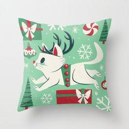 Reindeer Cat Throw Pillow