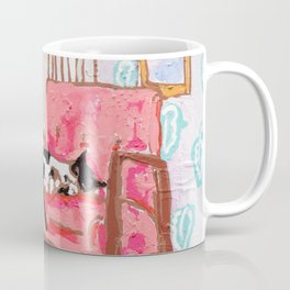 Little Naps - Tuxedo Cat Napping in a Pink Mid-Century Chair by the Window Coffee Mug