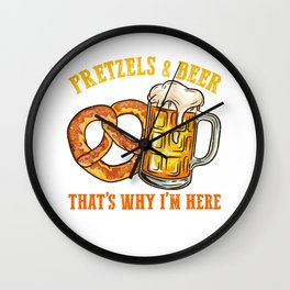 Pretzels and Beer l German Festival Bavarian Oktoberfest print Wall Clock