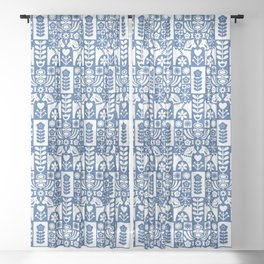 Swedish Folk Art - Blue Sheer Curtain