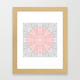 MANDALA IN GREY AND PINK Framed Art Print