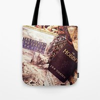tolkien Tote Bags featuring Tolkien Books by Apples and Spindles
