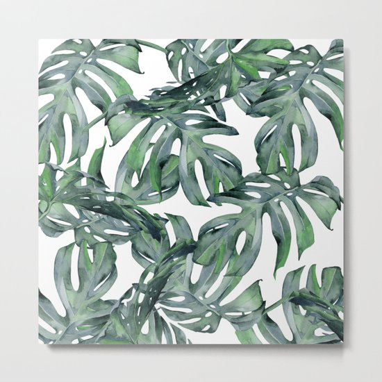 Tropical Palm Leaves Green and White Metal Print