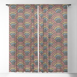 Bold Rainbow Pattern Sheer Curtain