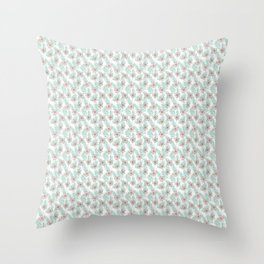 Tropical flowers and palm leaves pastel drawing, botanical pattern Throw Pillow