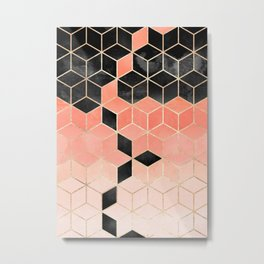 Black And Coral Cubes Metal Print