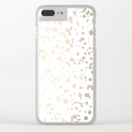 Luxe Gold Painted Dots on White Clear iPhone Case