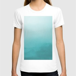 Aqua Teal Turquoise Watercolor Ombre Gradient Blend Abstract Art - Aquarium SW 6767 T-shirt