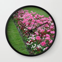 English Flower Beds Wall Clock