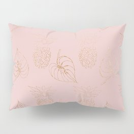 Gold Leaves and Pineapples on Pink Pillow Sham