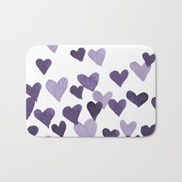 Valentine's Day Watercolor Hearts - ultraviolet Bath Mat