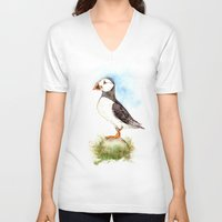 puffin V-neck T-shirts featuring Puffin on a Rock by Goosi
