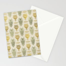 Gold and Green Glitter owl pattern on canvas Stationery Cards