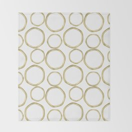 White & Gold Circles Throw Blanket