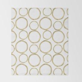 White & Gold Circles Throw Blanket