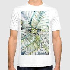 Poinsettia Watercolors MEDIUM White Mens Fitted Tee