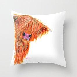 Scottish Hairy Highland Cow 'Peekaboo' by Shirley MacArthur Throw Pillow